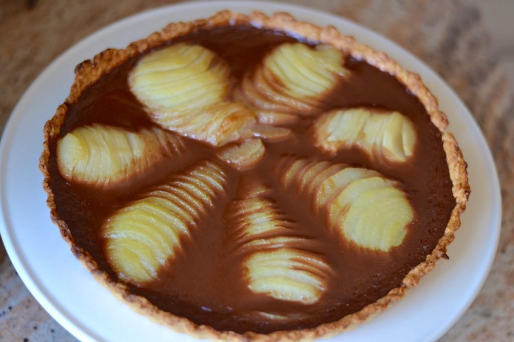 Tarta de peras con flan de chocolate