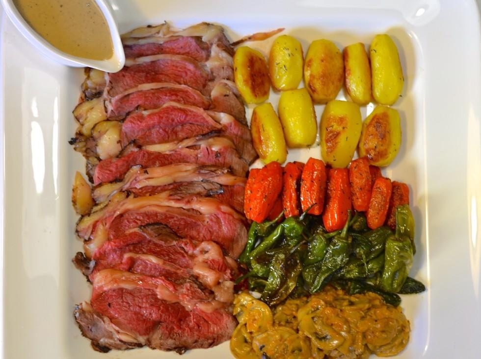 Roast beef a la pimienta verde