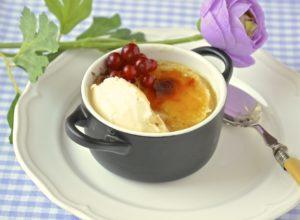 Crema al horno con helado de miel
