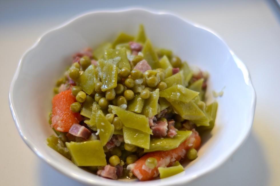 Verduras con jamón