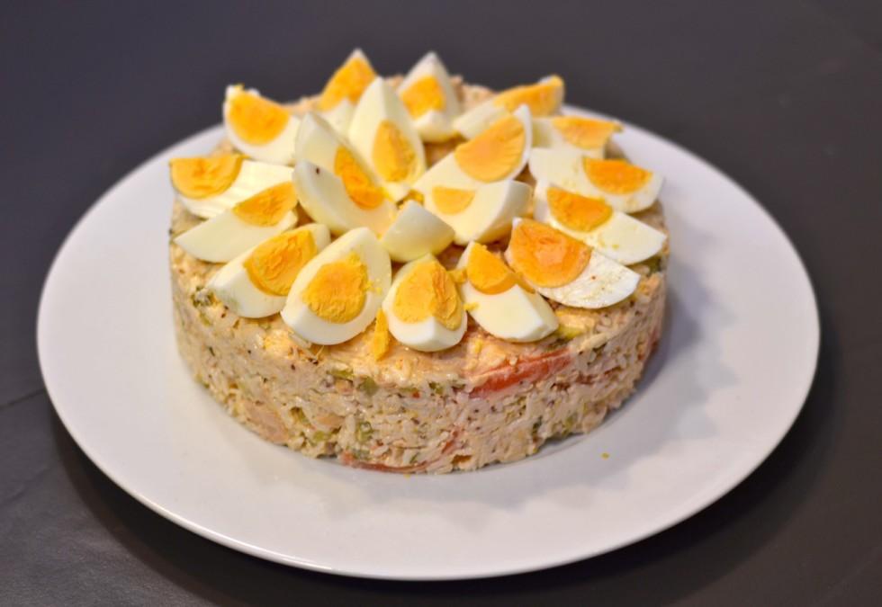 Ensalada de arroz con huevos