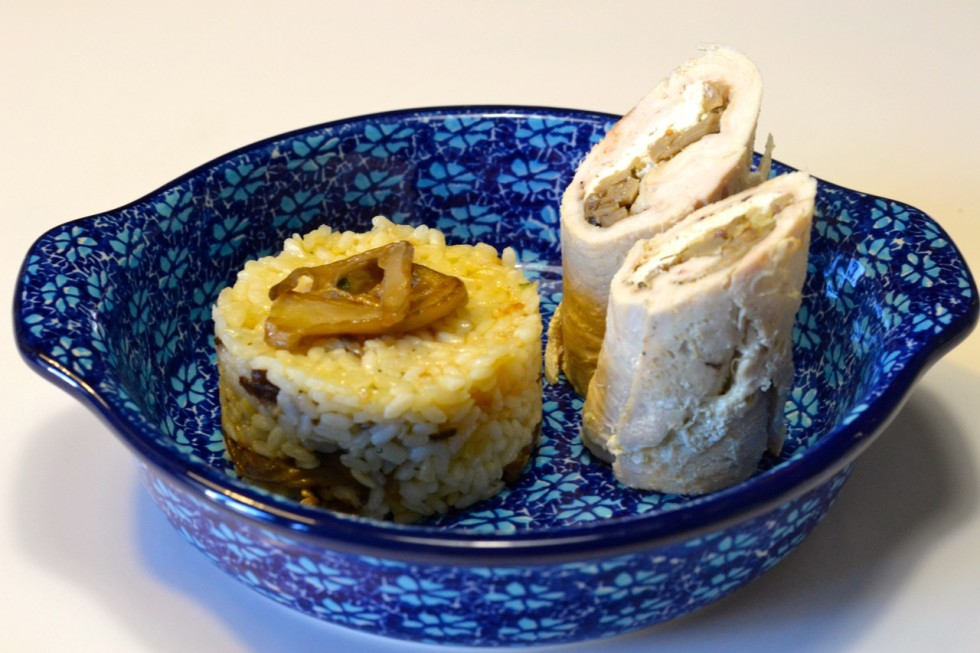 Pechugas de pollo rellenas con arroz