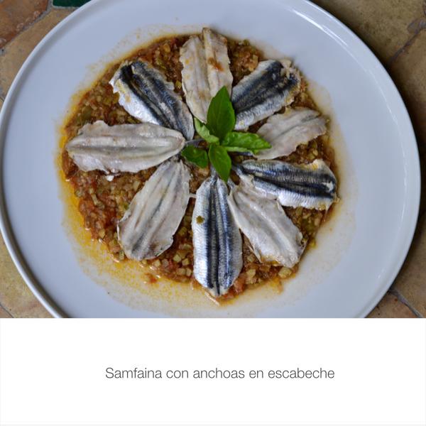 Samfaina con anchoas en escabeche